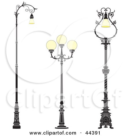 Clipart Illustration of a Collage Of Three Vintage Iron Street Lamps by Frisko
