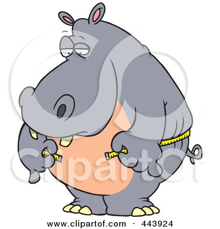 Royalty-Free (RF) Clip Art Illustration of a Cartoon Big Hippo Measuring His Waist With A Short Tape by toonaday