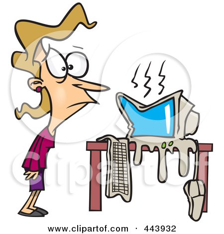 Royalty-Free (RF) Clip Art Illustration of a Cartoon Womans Computer Having A Meltdown by toonaday