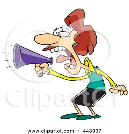 Royalty-Free (RF) Clip Art Illustration of a Cartoon Businesswoman Using A Megaphone by toonaday