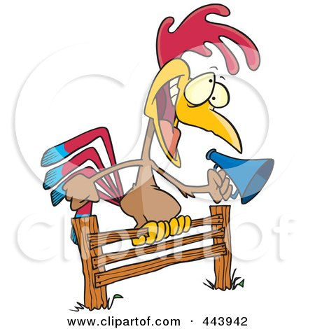 Royalty-Free (RF) Clip Art Illustration of a Cartoon Rooster Using A Megaphone On A Fence by toonaday