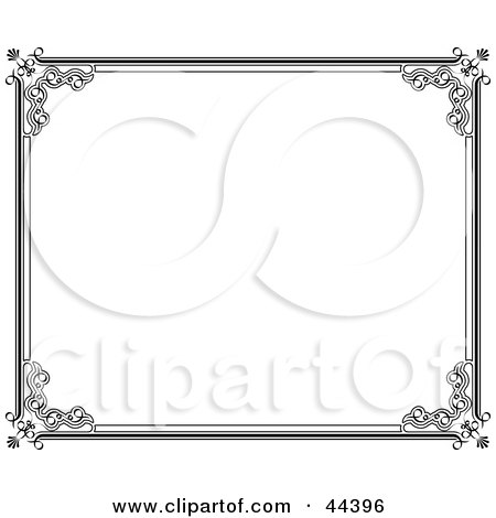Clipart Illustration of a Horizontal Black And White Frame Border by Frisko