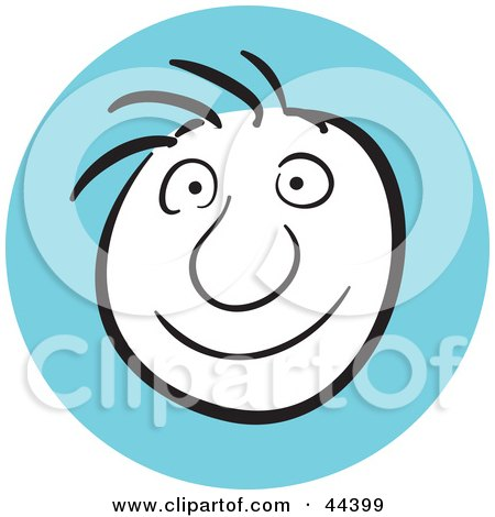 Clipart Illustration of a Man With A Happy Facial Expression by Frisko