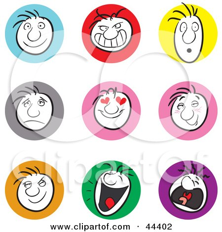 Clipart Illustration of a Collage Of Male Facial Expressions by Frisko