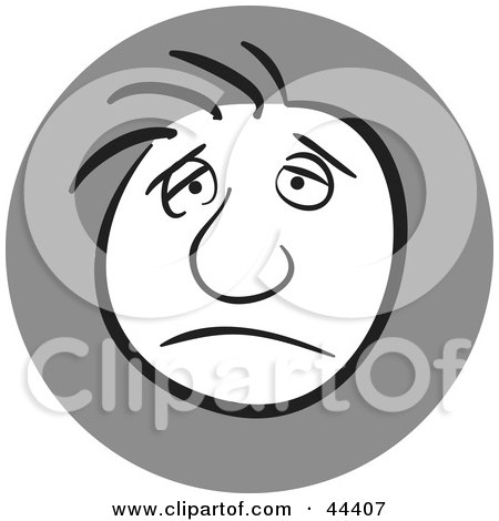 Clipart Illustration of a Man With A Gloomy Facial Expression by Frisko