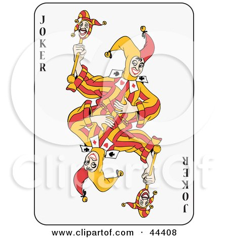 Clipart Illustration of a Dancing Double Joker Playing Card by Frisko