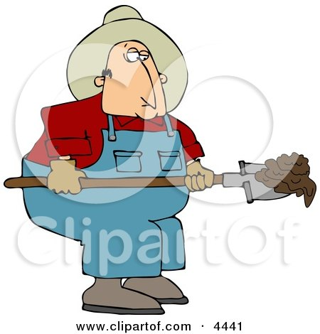 Cowboy Rancher Scooping Cattle Dung With A Shovel Clipart