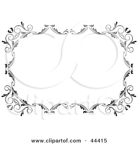 Clipart Illustration of a Horizontal Black And White Scroll Frame Border by Frisko