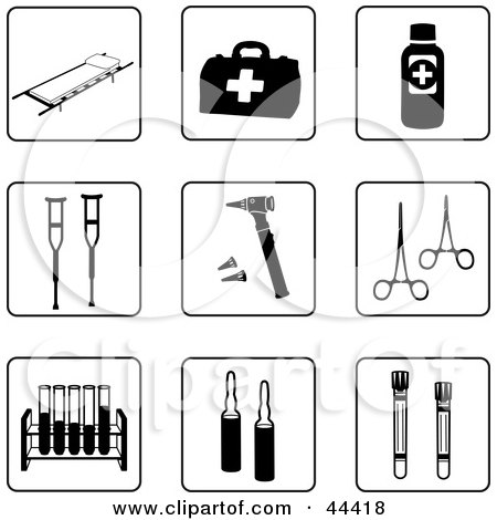 Clipart Illustration of a Digital Collage Of Black And White First Aid Icons by Frisko