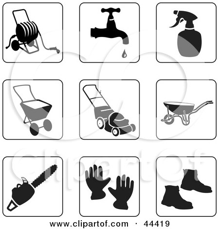 Clipart Illustration of a Digital Collage Of Black And White Gardening Icons by Frisko