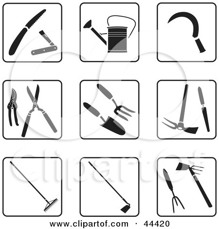 Clipart Illustration of a Digital Collage Of Black And White Garden Tool Icons by Frisko