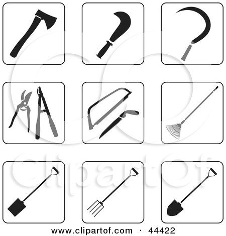 Clipart Illustration of a Digital Collage Of Black And White Tools For Gardening Icons by Frisko