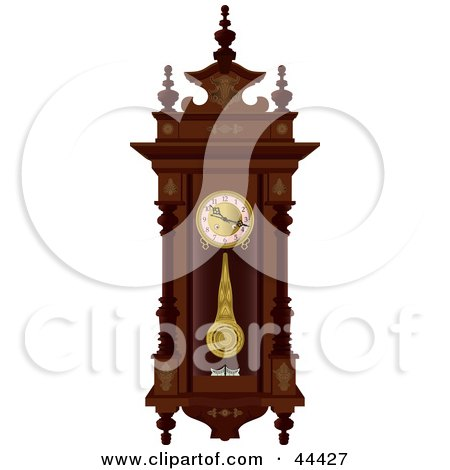Pendulum Swinging On An Antique Wooden Wall Clock Posters, Art Prints
