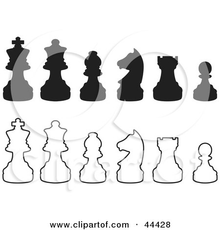 Clipart Illustration of Rows Of Silhouetted White And Black Chess Pieces by Frisko