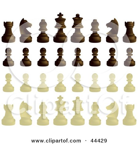 Clipart Illustration of Ebony And Ivory Chess Pieces by Frisko