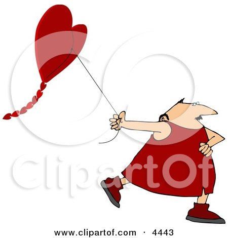 Valentine's Day Man Flying a Heart-shaped Kite Posters, Art Prints