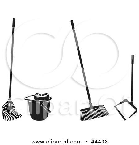 Clipart Illustration of a Digital Collage Of Cleaning Tools by Frisko
