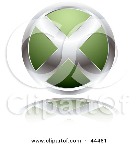Royalty-free (RF) Clip Art Of A Circular Website X Button In Green by michaeltravers