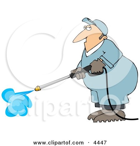 Male Worker Cleaning with a Professional Pressure Washer Clipart by djart