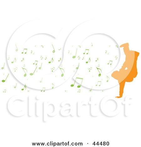 Royalty-free (RF) Clip Art Of Digital Collage of a Silhoeutte Of An Orange Breakdancer With Green Music Notes by michaeltravers