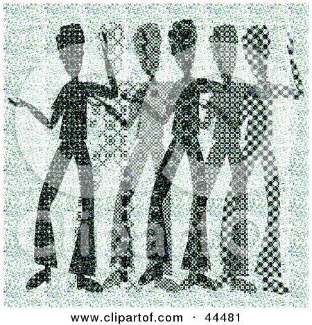 Clipart Illustration of a Green Halftone Scene Of Abstract Men Dancing by kaycee