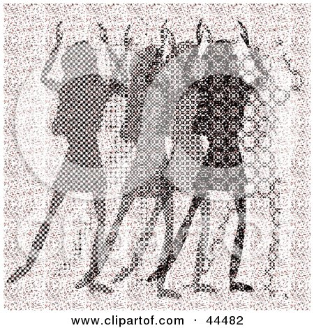 Clipart Illustration of a Pink Halftone Scene Of Abstract Women Dancing by kaycee