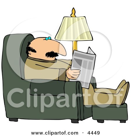 Man Sitting On a Recliner In His Livingroom, Reading the Local Newspaper Clipart by djart