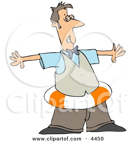 Man Wearing a Life Preserver Around His Waist Clipart by djart