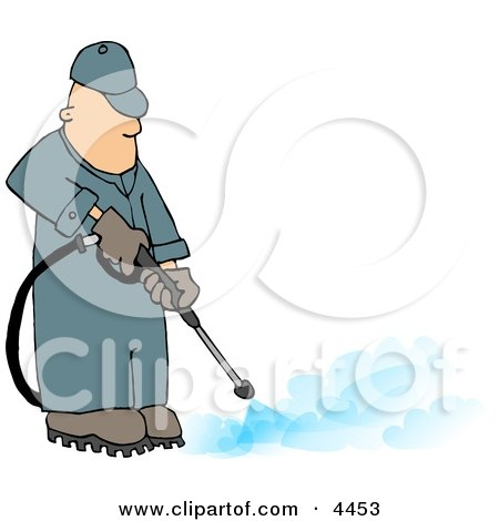 Professional Male Pressure Washer Spraying the Ground with Water Clipart by djart