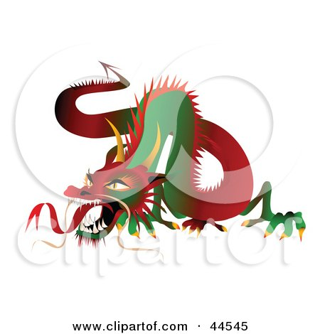 Fierce Long Green And Red Dragon Posters, Art Prints