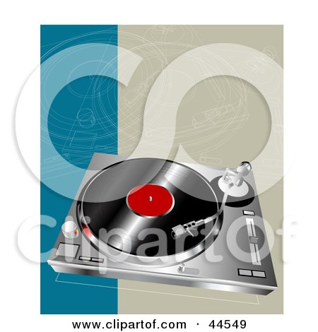 Clipart Illustration of a Red And Black Record On A Player by toonster