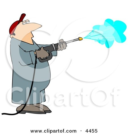 Pressure Washer Man Spraying Down a Wall Clipart by djart