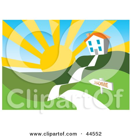 Clipart Illustration of a Sun Rising Over A White Home In A Hilly Green Landscape by toonster