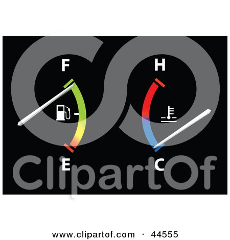 Clipart Illustration of a Colorful Fuel And Temperature Gauge In A Car by toonster