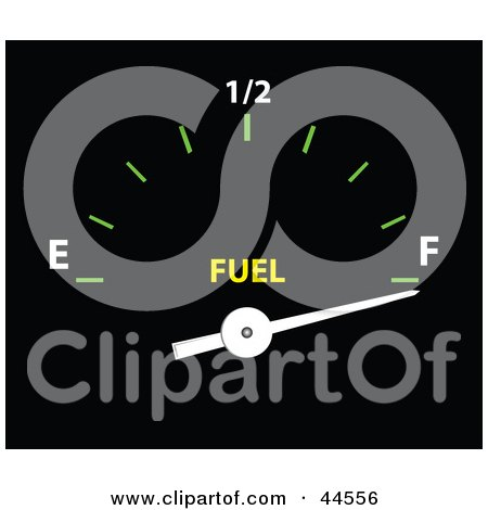 Clipart Illustration of a Full Gas Tank Gauge In A Car by toonster