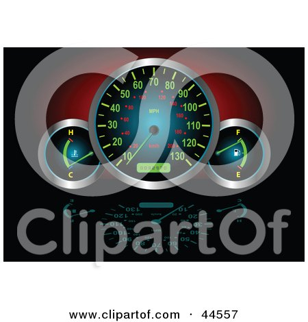 Clipart Illustration of Illuminated Fuel, Speed And Temperature Gauges In A Car by toonster