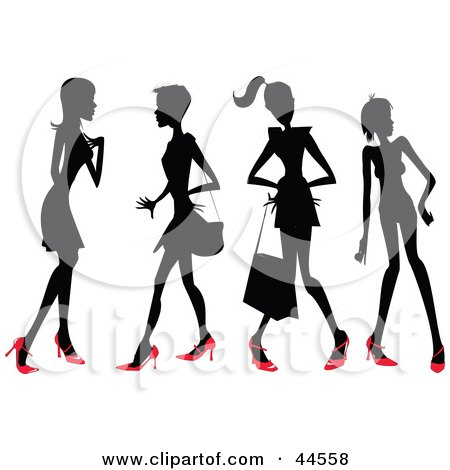 Clipart Illustration of Four Silhouetted Women In Red Heels by toonster