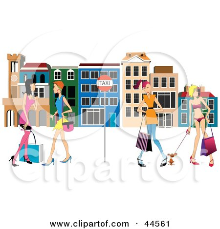 Clipart Illustration of Women Waiting At A Bus Stop In Venice by toonster