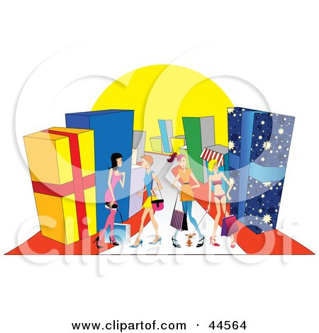 Royalty-free clipart picture of women shopping in a mall with giant presents