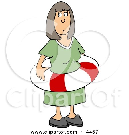 Woman Wearing an Emergency life Preserver Around Her Waist Clipart by djart