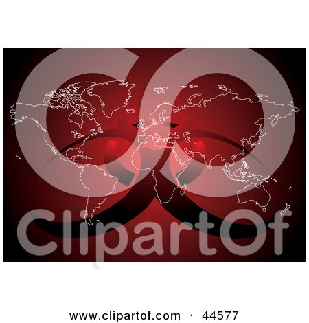 Clipart Illustration of a Red Atlas With A Biohazard Symbol by MilsiArt