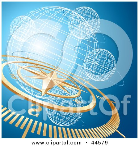 Clipart Illustration of a Golden Compass And Wire Globe Blue Background by MilsiArt