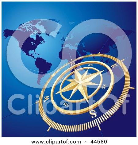 Clipart Illustration of a Golden Compass And Atlas Blue Background by MilsiArt