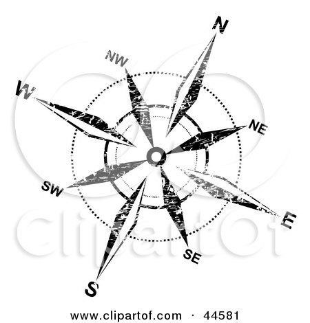 Clipart Illustration of a Distressed Black And White Compass Rose Background by MilsiArt
