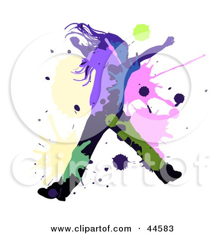 Clipart Illustration of a Black Silhouetted Girl Dancing Or Leaping, With Colorful Splatters by MilsiArt