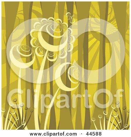 Clipart Illustration of a Yellow Background Of Abstract Tree Trunks And Flowers by MilsiArt
