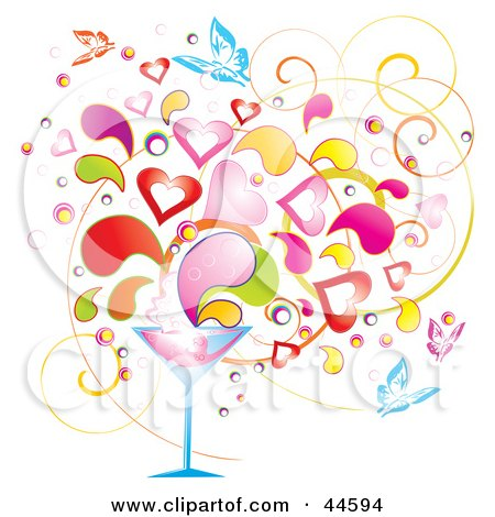 Clipart Illustration of a Background Of Colorful Splashes, Hearts And Butterflies Emerging From A Martini Glass by MilsiArt