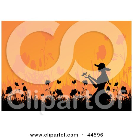 Clipart Illustration of a Silhouetted Woman Releasing A Bird In A Garden by MilsiArt