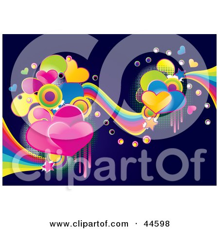Clipart Illustration of a Vibrant Colorful Heart And Wave Background On Dark Blue by MilsiArt