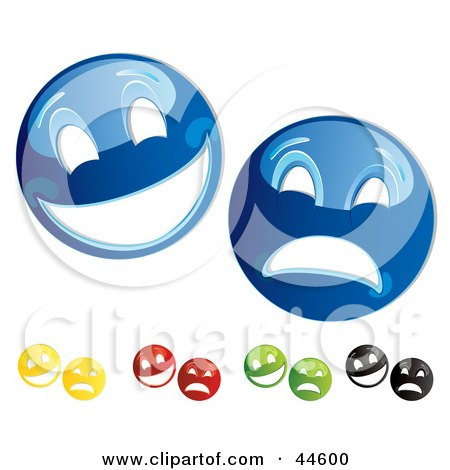 Clipart Illustration of a Digital Collage Of Blue, Yellow, Red, Green And Black Theater Mask Emoticons by MilsiArt